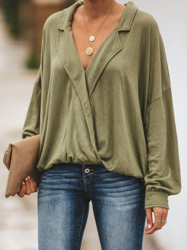 Dark Green V Neck Plain Casual Cotton-Blend Shirts & Tops