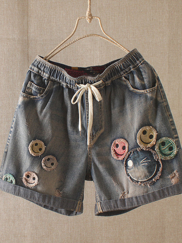 As Picture Denim Casual Embroidered Pants