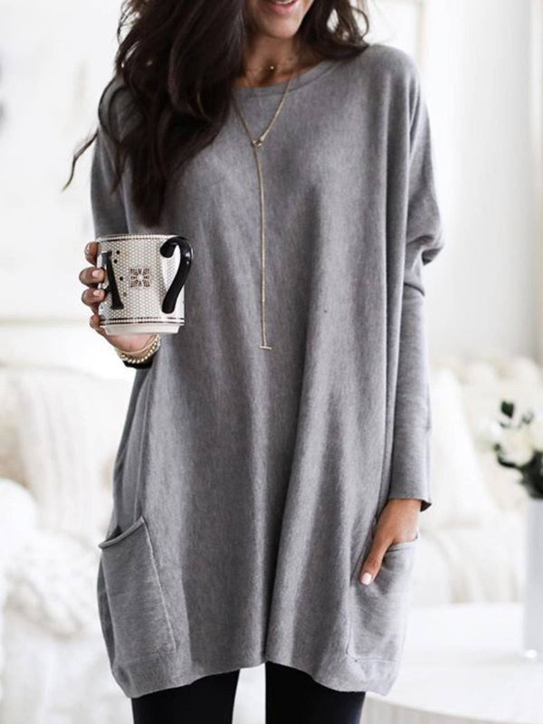 Casual Plain Long Sleeve Crew Neck Shirts & Tops