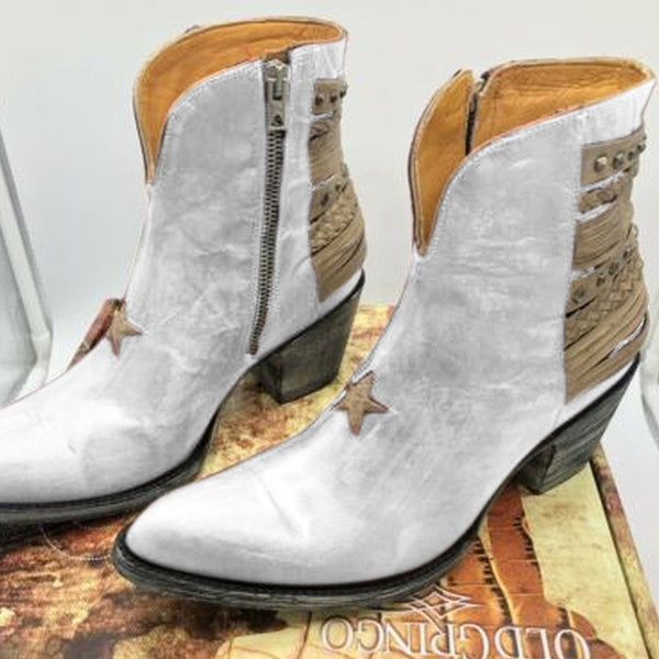 Leather Panel Block Heel Holiday Boots