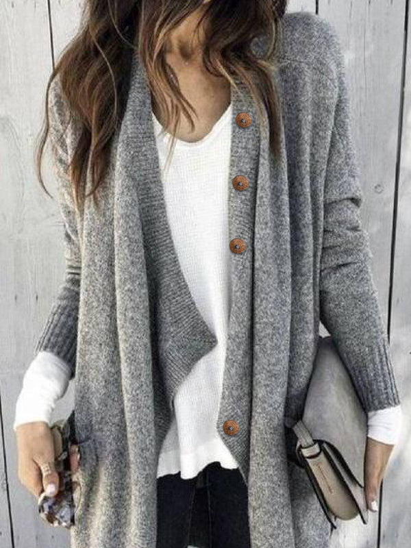 Gray Long Sleeve Knitted Outerwear