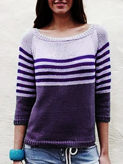 Stripes Knitted Knitted Long Sleeve Shirts & Tops