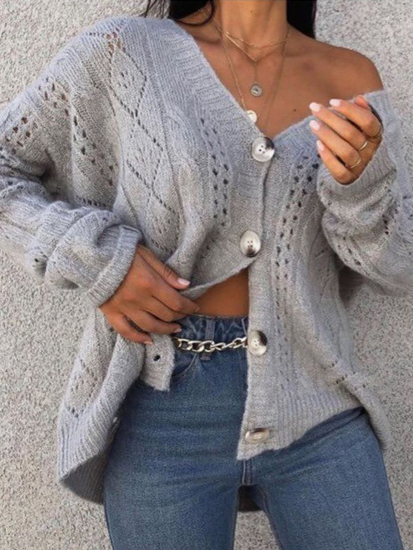 Knitted Shift Casual V Neck Sweater