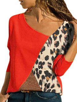 Casual Leopard Patchwork Round Neck Blouse