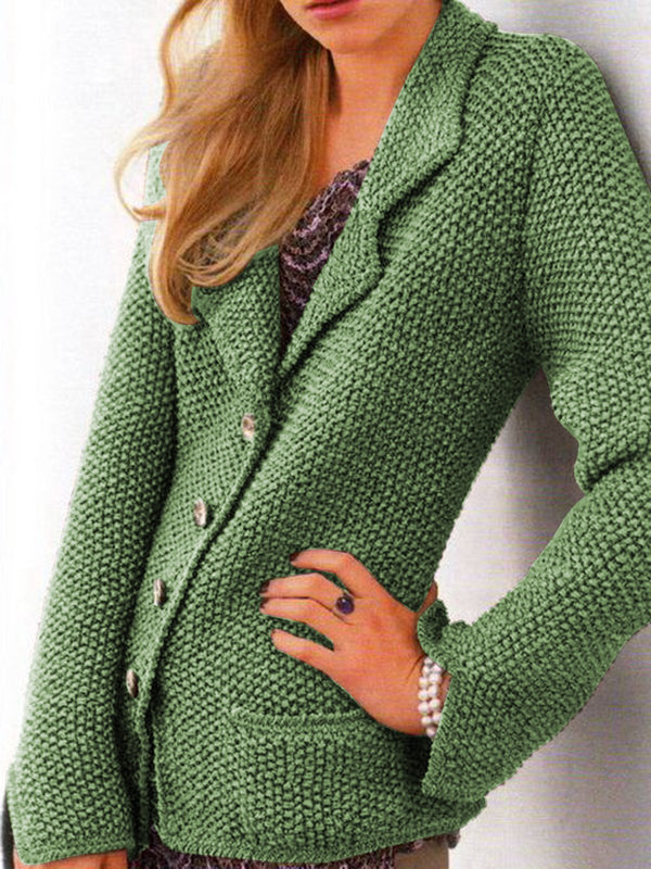 Women Buttoned Pockets Vintage Sweater Cardigans