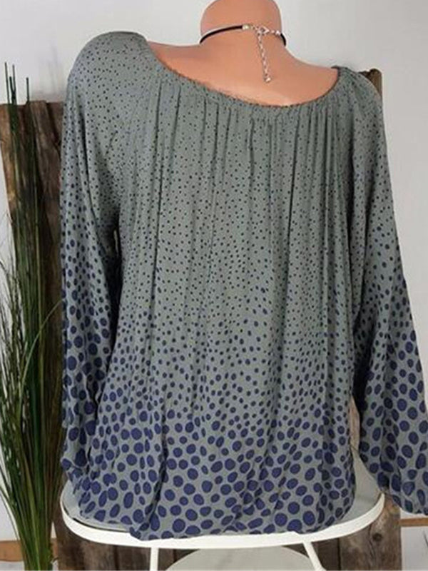 Spring/Fall Polka Dots Round Neck Casual T-Shirts