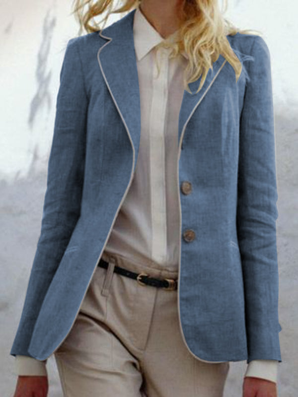 Women Lapel Buttoned Solid Vintage Blazer Coats