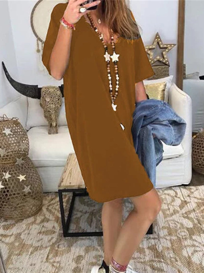 V Neck Women Dresses Shift Daily Vintage Cotton-Blend Dresses