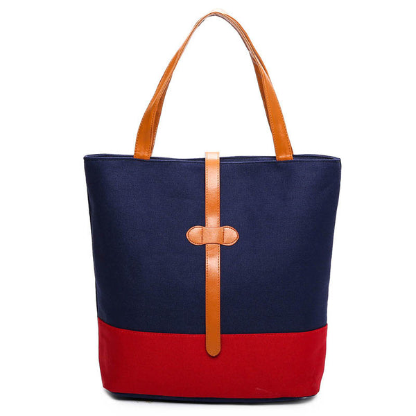 Ladies Stylish Canvas Large Capacity Color-block Tote Bag Shoulder Bag