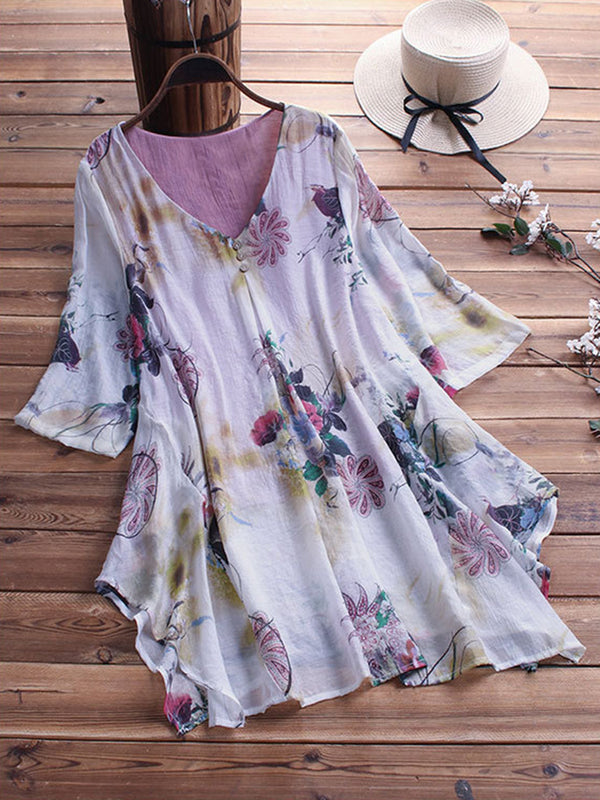 Plus Size Short Sleeve Asymmetric Casual Printed Floral Blouses