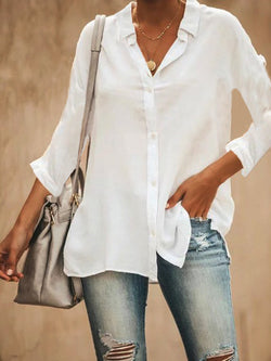 Cotton-Blend V Neck 3/4 Sleeve Shirts & Tops