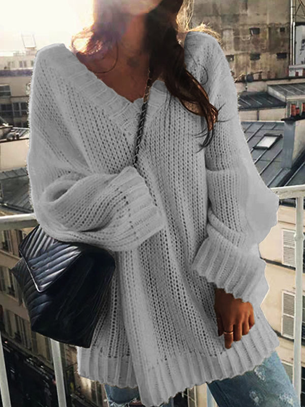V Neck Long Sleeve Knitted Solid Sweater