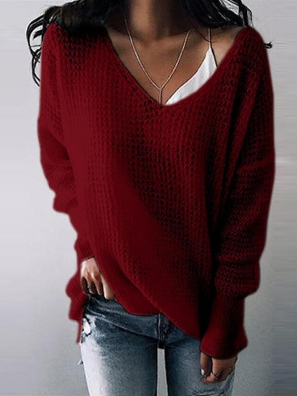 Cutout Solid Long Sleeve Casual Shirts & Tops