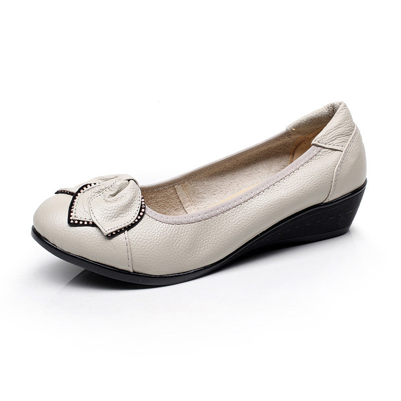 Slip-on Bow Low Heel Women PU Round Toe Flats