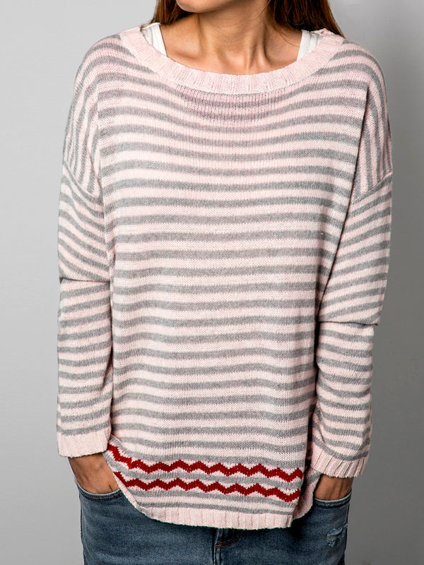 Apricot Casual Stripes Cotton-Blend Shirts & Tops