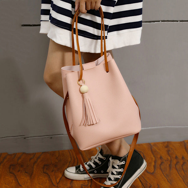 Sweet Tassel Decoration Handbag Crossbody Shoulder Bucket Bag