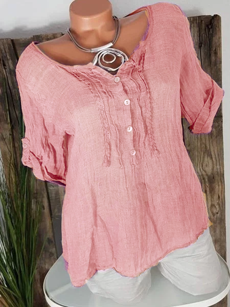 Convertible Sleeves Linen Buttoned Blouses