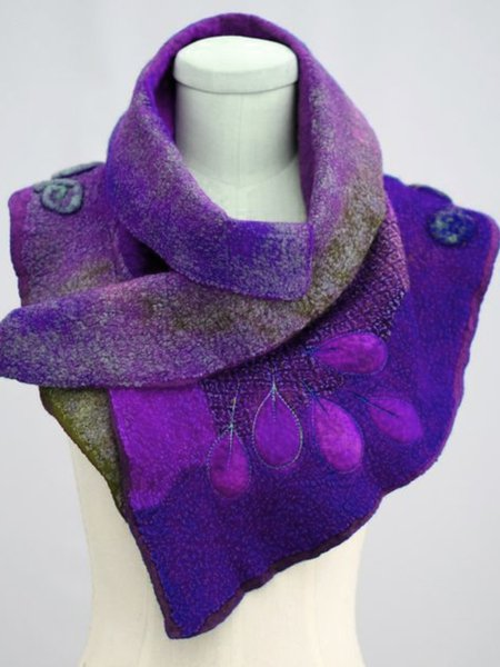 Color-Block Cotton-Blend Casual Scarves & Shawls