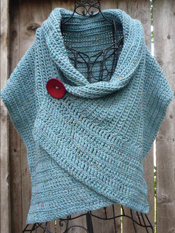 Sky Blue 3/4 Sleeve Shift Casual Scarves & Shawls