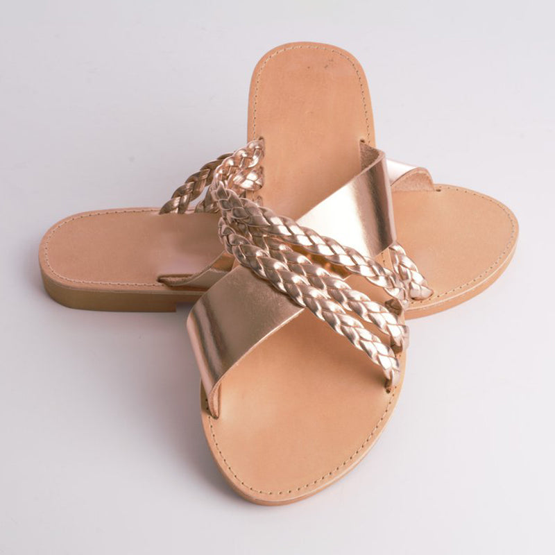 Vintage Slip-On Flip-flops Flat Crossed Sandals Plus Sizes