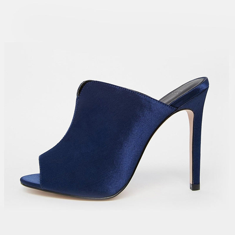 Dark blue Summer Satin Peep Toe Stiletto Slippers