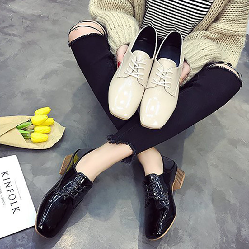 Women Patent Leather Chunky Heel Loafers Casual Comfort Shoes
