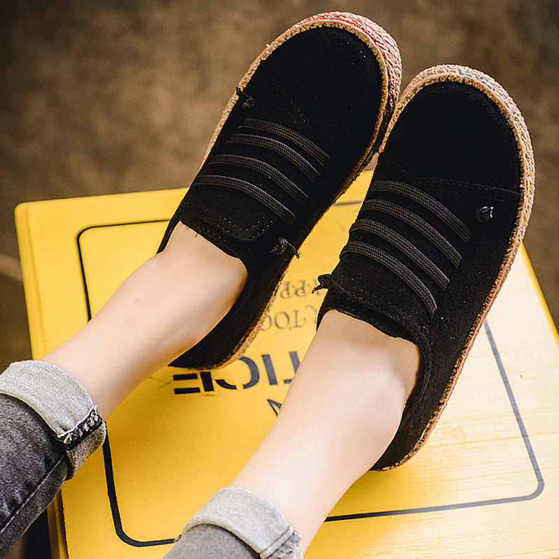 Elegchic Women's Loafers Women Lace-Up Round Toe Suede Loafers