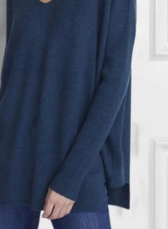 Blue Cotton-Blend Casual Long Sleeve Shirts & Tops