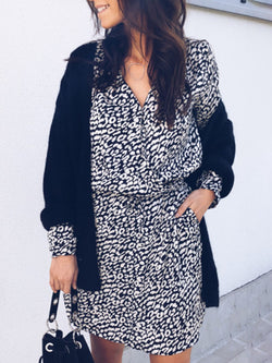 V Neck Black Women Casual Dresses Daily Pockets Leopard Print Dresses