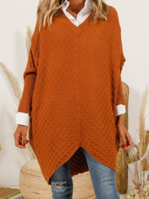 Plus Size Casual V Neck Long Sleeve Solid Tops