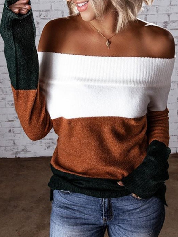 Coffee Patchwork Off Shoulder Color-Block Long Sleeve Sweater