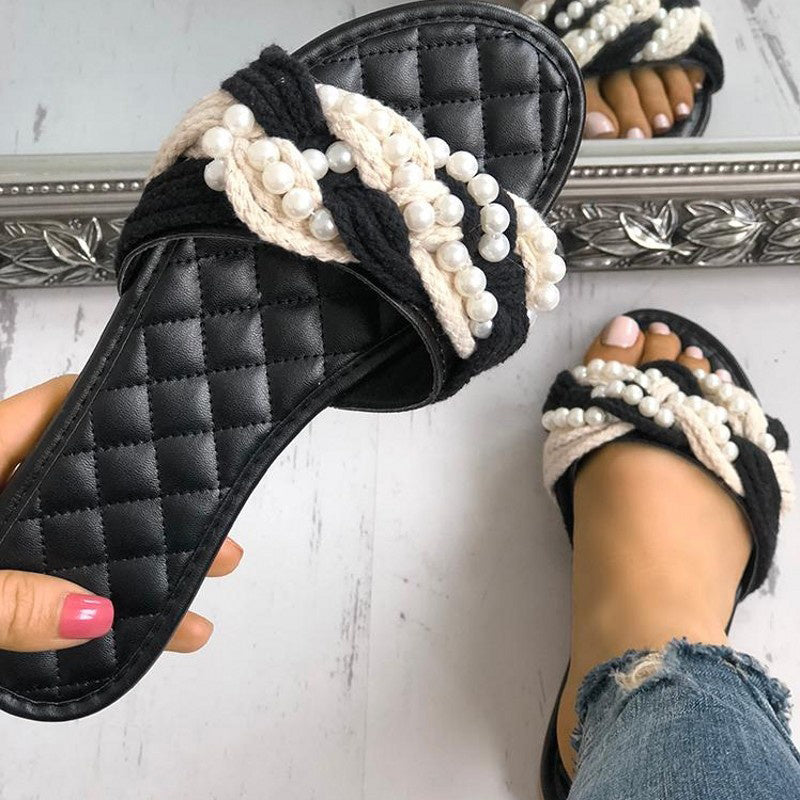 Women Fabric Slippers Casual Comfort Pearls Shoes