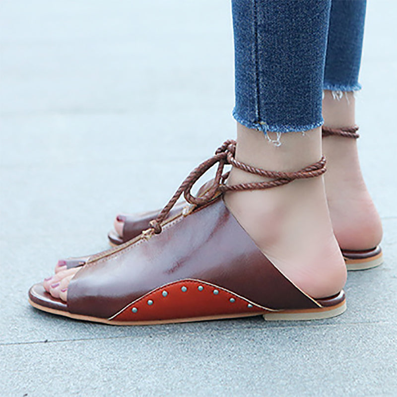 Braided Strap Daily Flat Heel Sandals