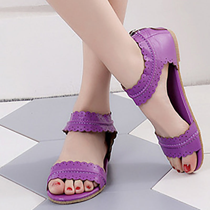 Daily Flat Heel Zipper Sandals