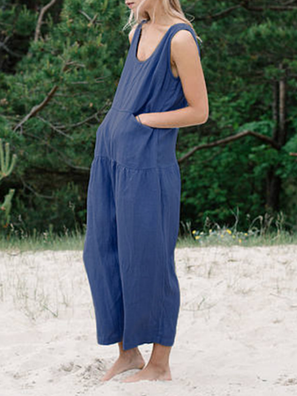 Linen Paneled Sleeveless Sweet Jumpsuits