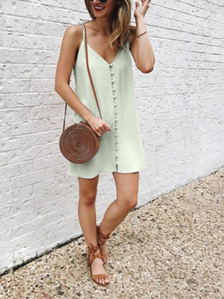 Solid Sexy Buttoned Vacation Dress