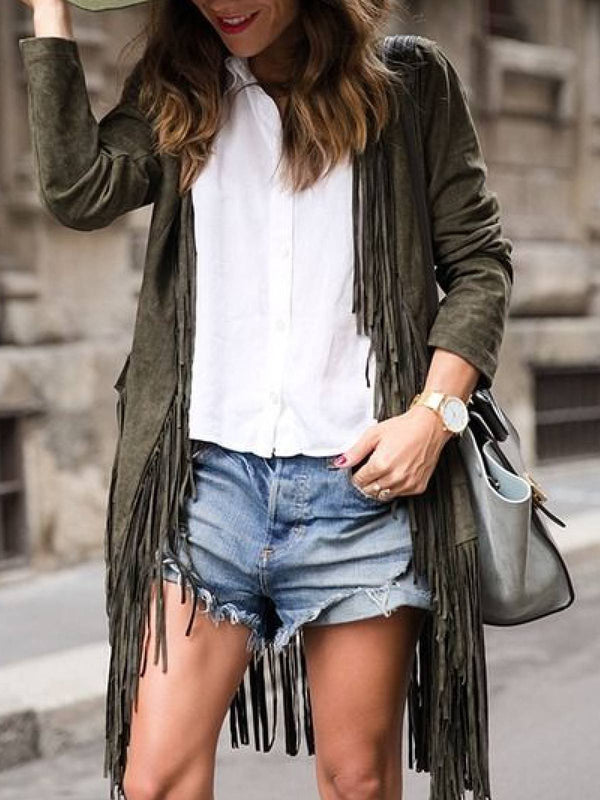 Faux Suede Casual Fringed Outerwear