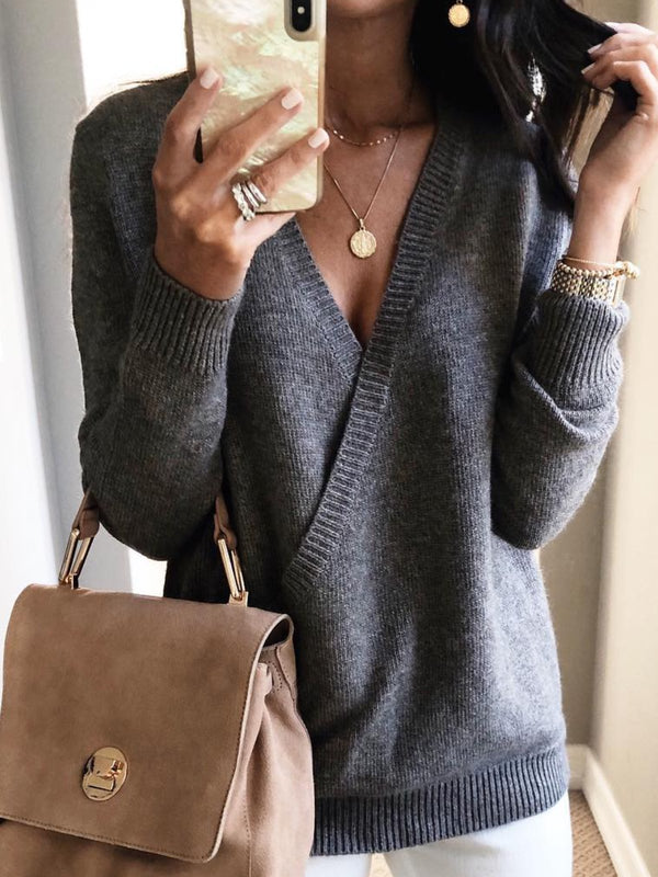 V Neck Solid Casual Sweater