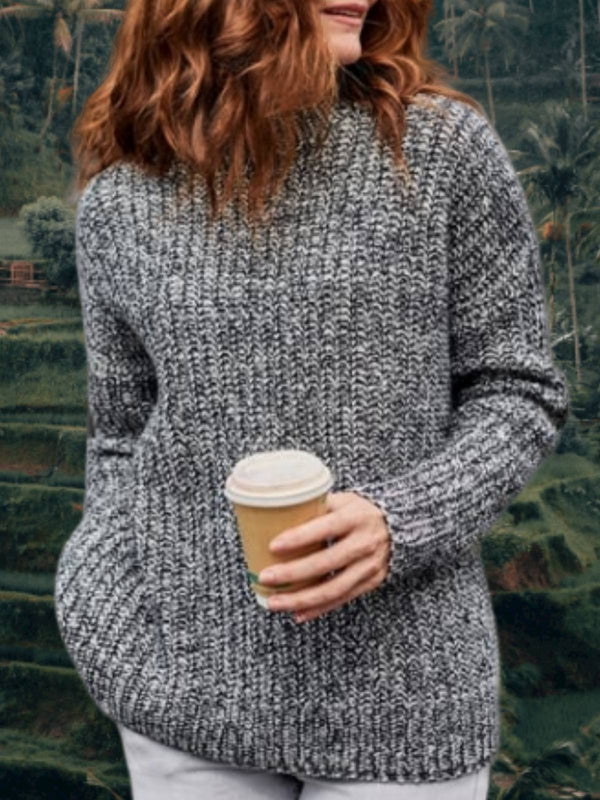 Cotton-Blend Long Sleeve Casual Solid Sweater