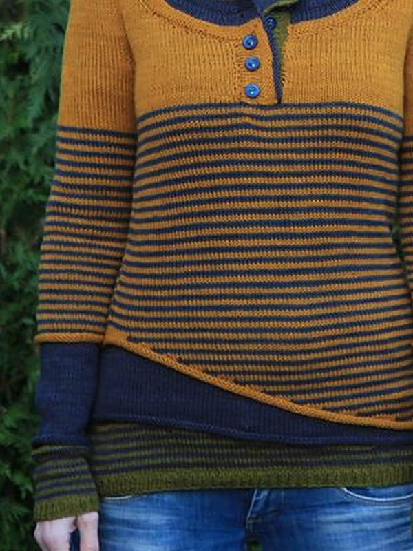 Yellow Striped Long Sleeve Sweater