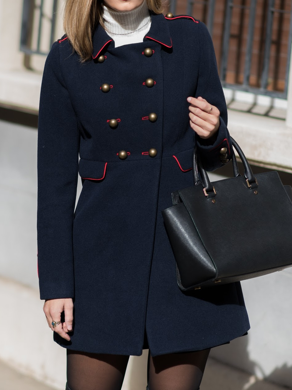 Navy Blue Long Sleeve Paneled Plain Outerwear