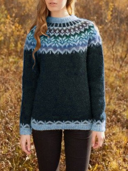 Casual Crew Neck Printed Knitted Sweater