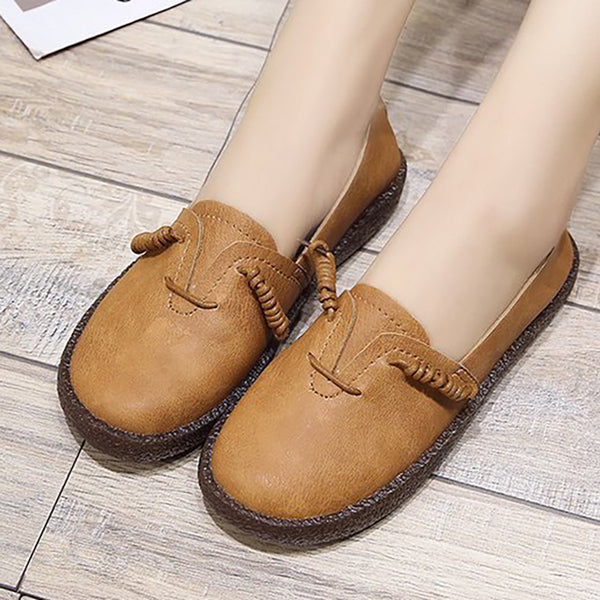 Women PU Flats Loafers Casual Comfort Slip On Shoes