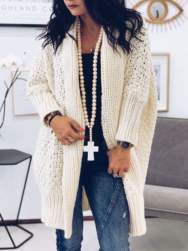 Plus Size Casual Long Sleeve Knitted Solid Outerwear