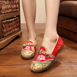 Red Embroidered Slip-On Women's Fabric Loafers
