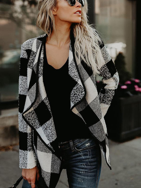 Autumn&winter New Plaid Loose Turn-down Collar Long Sleeve Woolen coat Outwear