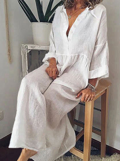 Solid Turn-Down Collar Linen Long Sleeve Dresses