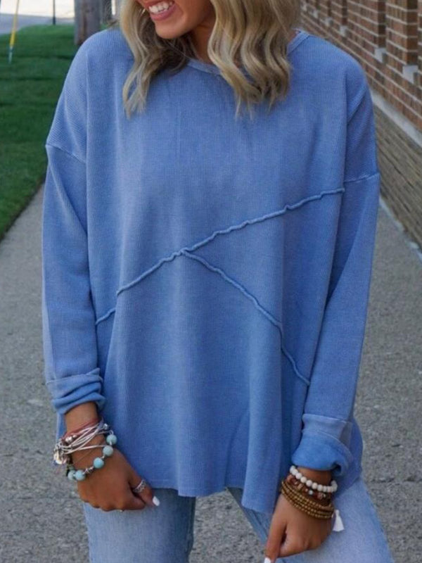 Casual Crew Neck Solid Long Sleeve Tops