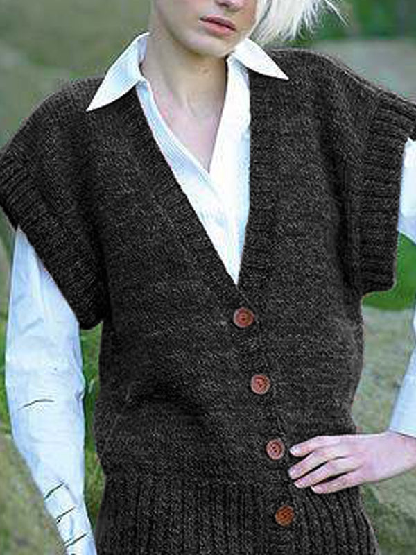 Europe and the United States large size retro casual cardigan sweater loose vest jacket