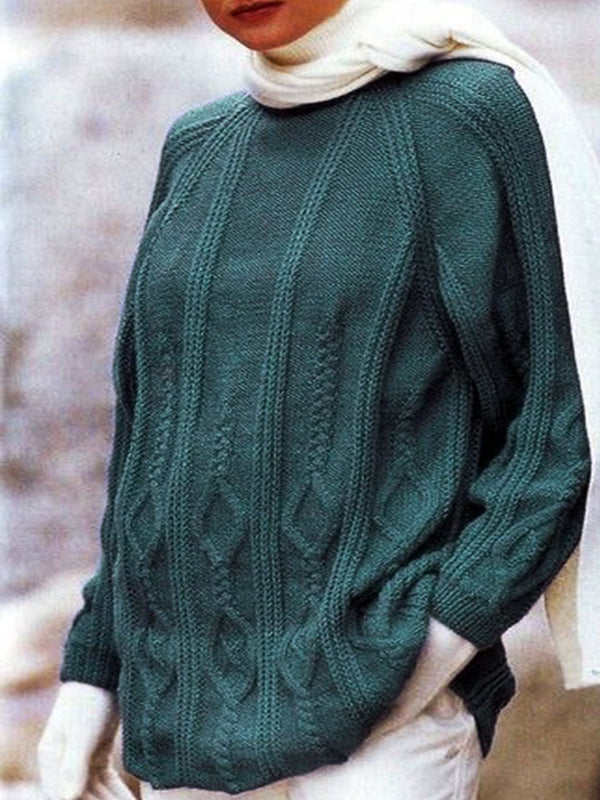 Long Sleeve Knitted Crew Neck Plain Sweater